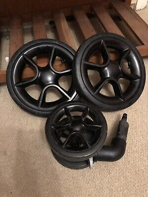 Quinny Moodd/ Buzz Full Set Of Black Wheels, Two Rear, One Front - Air Filled