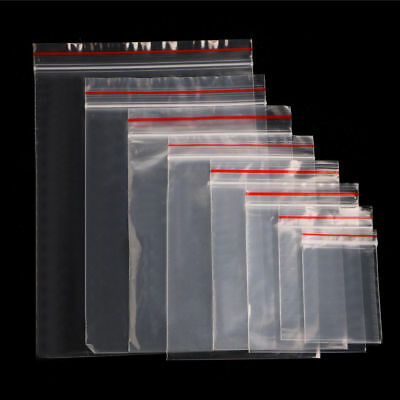 100pcs Clear Plastic Resealable Cellophane Small Bag Seal Zip Lock Bags 9 Sizes