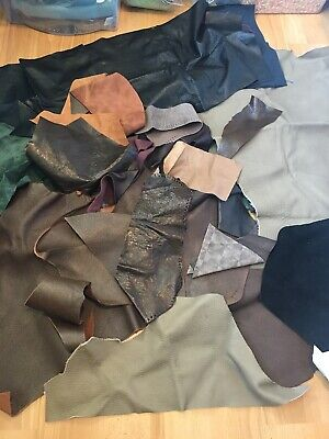 Massive Job Lot Of Leather And Suede Scraps And Large Pieces Mixed