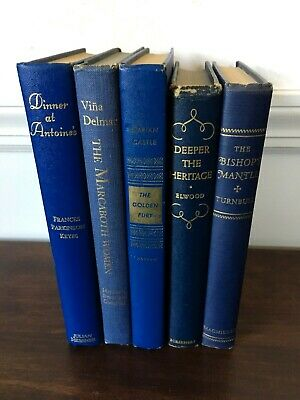 Vintage Books Blue Gold Lot hardcover staging decor photography library