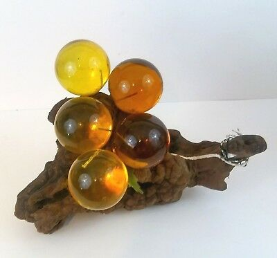 Vintage Mid Century Modern Lucite Acrylic Grape Cluster Amber Yellow Driftwood