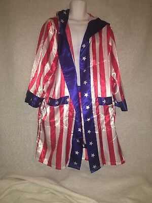8656b5cec9af Rocky Balboa Mens Movie Boxing Costume Hooded Robe and Shorts American Flag  Sz M