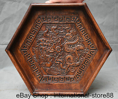 "14"" Old Chinese Huanghuali Wood Carving Dragon Phoenix Hexagon Plate Tray Pallet"
