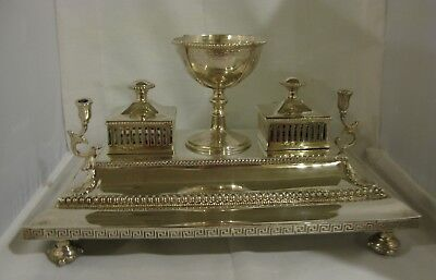 LARGE ANTIQUE VICTORIAN STERLING SILVER INK STAND SHEFFIELD 1869   52 oz.