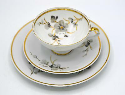 Bavaria 3 Piece Luncheon Set - Gray Floral and Gold Trim - Cup Saucer Underplate