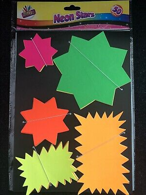 50 Assorted Bright Fluorescent Neon Stars - 5 Sizes And Colours - Ideal Prices