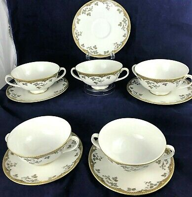 Royal Doulton Footed Cream Soup Bowl & Saucer LYNNEWOOD