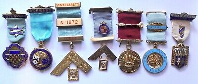 7 Masonic solid Silver Jewels as one lot