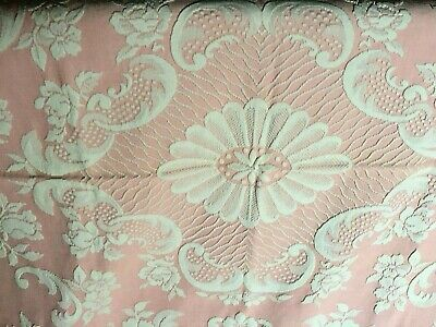Vintage Cotton bedspread 1950s Pink White embossed Roses Throw Double 2m20x1m80