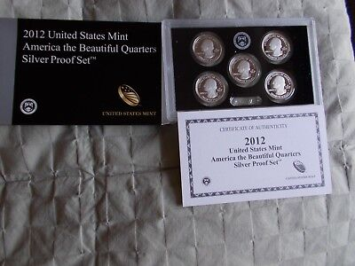 2012 US Mint America the Beautiful Quarters Silver Proof Coin set in OGP w/ COA