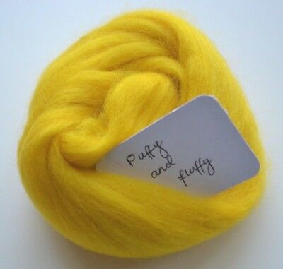 100% BUTTERCUP YELLOW MERINO WOOL TOPS 50g 100g spinning needle felting roving