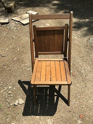 Antique Folding Chairs, Wood Slabs, Stunning Church / Theatre Chair Group Of 3