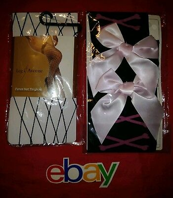 2 PC LOT Leg Avenue Stockings Thigh KNEE High Fence Net Fishnet Black W PINK BOW