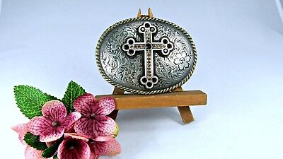 BELT BUCKLE NOCONA Oval Buckle Silver Tone Metal with Cross Red Yellow Stones