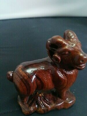 Vtg Asian Hand Carved Boxwood Ironwood Pig Figurine Brown small