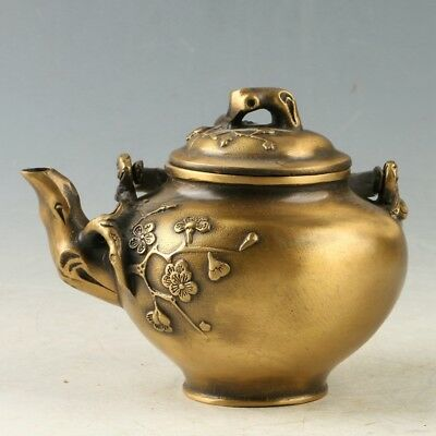 Collectibles Chinese Brass Hand-carved Plum Blossom Teapot