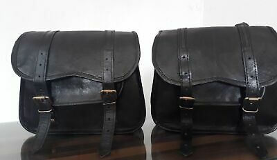 Saddlebags Motorcycle Side Pouch Black Leather Side Pouch Panniers 1Pair