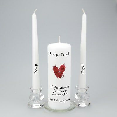 Personalised Wedding Unity Candle with an abstract heart featuring two faces