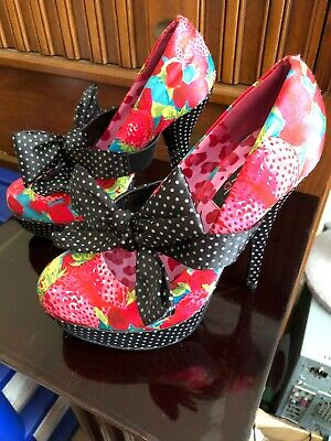 be8d6beb42 Iron Fist women s size 7 strawberries roses bow pin-up heels polka dots