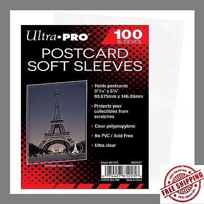 UltraPro|100 Sleeves Holders Postcards 3-11/16x5-3/4 Soft,UltraClear Photo Camer