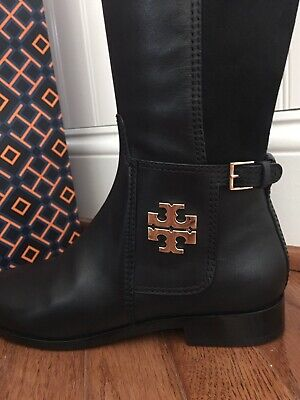 6c61e507f TORY BURCH WYATT OVER THE KNEE BOOTS BLACK LEATHER STRETCH SUEDE 7.5 New In  Box