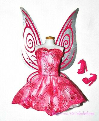 Barbie Doll Tinker Bell Disney Fairy Replacement Wings Dress Shoes Set Pink