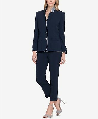 Tahari ASL Piped Two-Button Pantsui Size 8 #F301 MSRP $290.00
