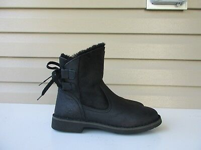 8f1fd348146 UGG AUSTRALIA NAIYAH Black Boots Shearling Lace Up Woman's 1016850 US 7