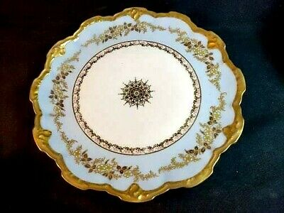 Very Fine Hand Painted Enamel Limoges Serving Tray Light Blue w Gold