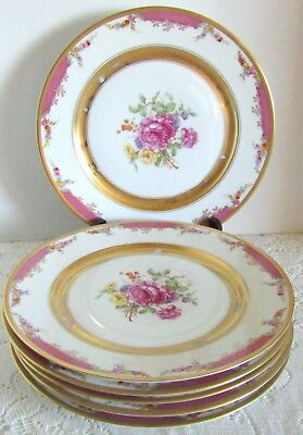 6 Vintage Rosenthal Bavaria Flower Bouquet Pink Lattice Gold Dinner Plates