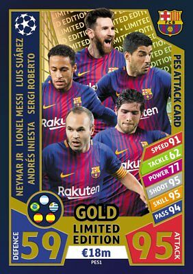 Match Attax Champions League 2017/18 Barcelona gold Limited PES1 Messi Iniesta