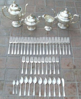 Antique Louis XIV Sterling Silver Coffee & Tea Set + Dinner Service Flatware WOW