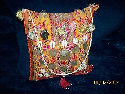 palestinian old wedding mirror all silk hand embroidery on cotton indigo fabric