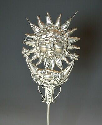 Rare Antique Andean Colonial Silver Sun Moon Tupu 18th  Century Bolivia