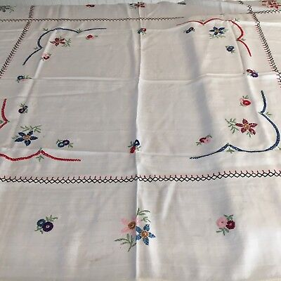 """Vintage Embroidered Colorful Flowers White Tablecloth Crochet Border 44x48"""""""