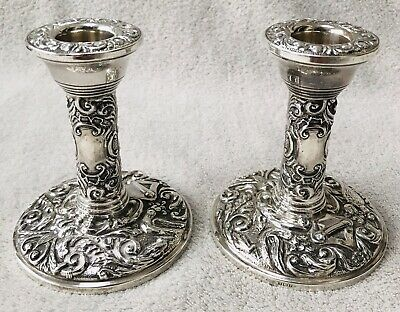 Lovely Pair Solid Silver Decorative Candlesticks, Birm 1958