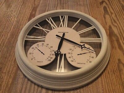Westminster Temperature / Humidity, Wall Clock with Glass Faced Metal Casing