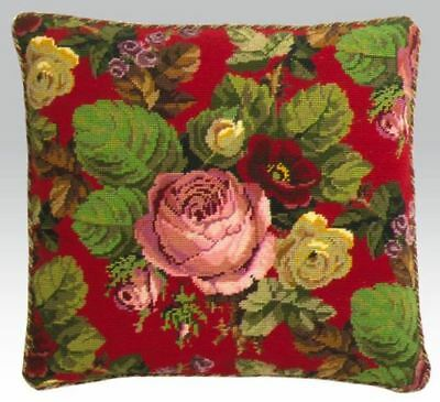 EHRMAN SCARLET RED BERLIN ROSES by David Merry TAPESTRY NEEDLEPOINT KIT RETIRED
