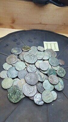70 late  roman coins and provincial lot. Trace of history.Metal detector finds