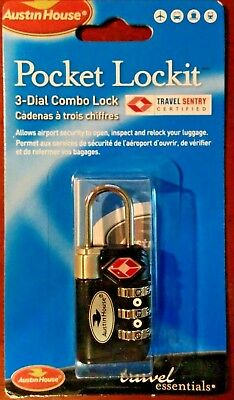Pocket Lockit 3-Dial Combo Lock Travel Sentry Certified