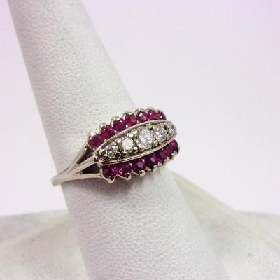 Vintage Solid 14K White Gold 0.91 Carat Diamond & Ruby Ring Size 8, 4.3 grams
