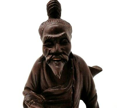 Oriental Man w/Pipe - Wooden Carved Figure - Vintage Asian Wood Carving