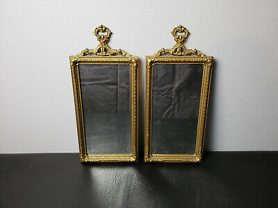 Pair of Antique Victorian Gilt Frame Wall Mirrors Rectangular Ornate Gold JS Mfg