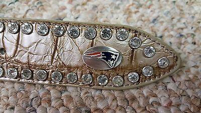 New England Patriots Beige Women Leather Belt Rhinestone Style Glitz Bling S M L