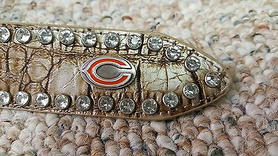 Chicago Bears Beige Womens Leather Belt Fancy Rhinestone Style Glitz Bling M NFL
