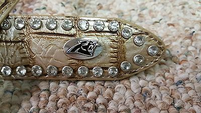 Carolina Panthers Beige Womens Leather Belt Rhinestone Glitz Bling Small NFL