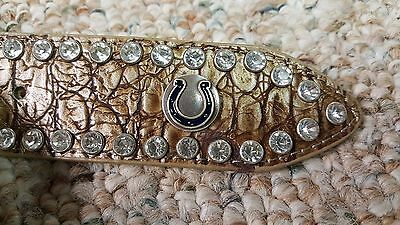 Indianapolis Colts Beige Womens Leather Belt Rhinestone Glitz Bling M L XL XXL