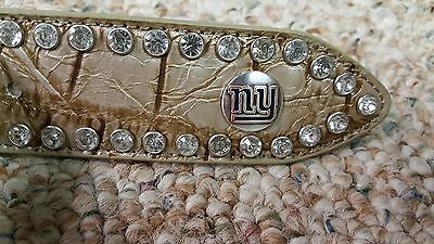 New York Giants Beige Leather Belt Rhinestone Fancy Style Glitz Bling S M L NFL