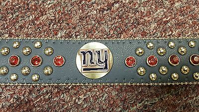 New York Giants Blue Leather Belt Red Rhinestone Fancy NFL Glitz Bling S M L XL