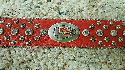 Kansas City Chiefs Leather Belt Rhinestone Fancy Style Glitz Bling S M L XL XXL